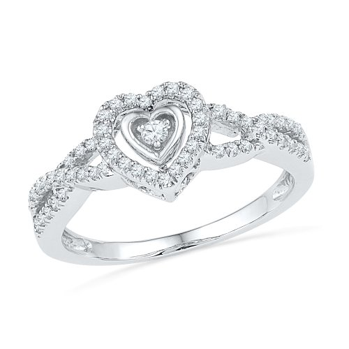 Sterling Silver White Round Diamond Heart Ring (1/4 CTTW) by D-GOLD