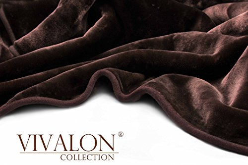 (Vivalon Solid Color Ultra Silky Soft Heavy Duty Quality Korean Mink Reversible Blanket 9 lbs King Chocolate Brown)