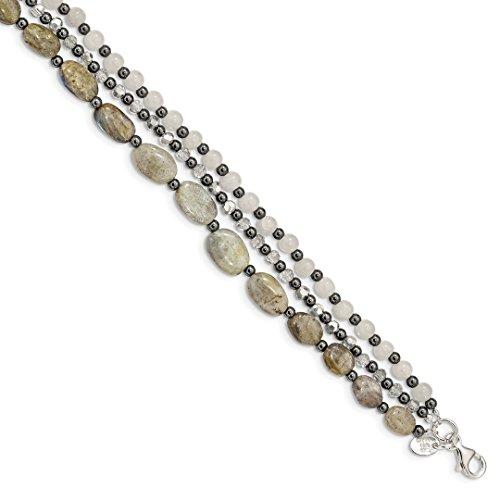 925 Sterling Silver Crystal/hematite/white Jade/labradorite 3 Strand 1 Inch Extension Bracelet 7 Gemstone Fine Jewelry For Women Gift Set (Bangles Jade Gold White)