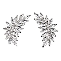 Leaf Pierced Stud Marquis Earrings With Cubic Zirconia