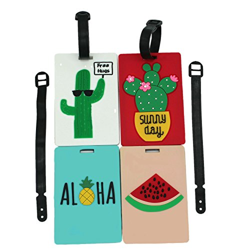 ShineSnow Pineapple Cactus Luggage Tags Funny Travel Bag Suitcase ID Label 4pcs