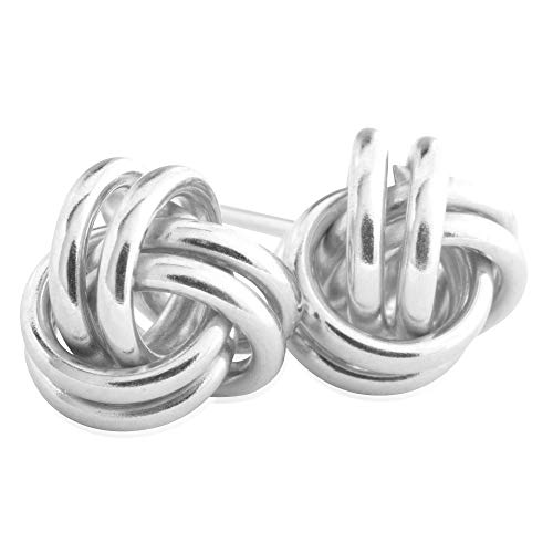 14KT White Gold Love Knot Fashion Earrings for Women, 7mm – Comfortable and Secure Stud ()