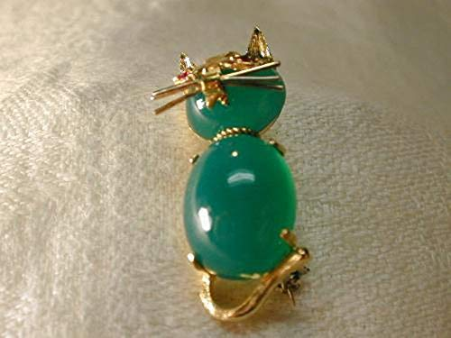 - Magnificent Estate 14K Yellow Gold Green Aventurine Ruby Cat Brooch Pin