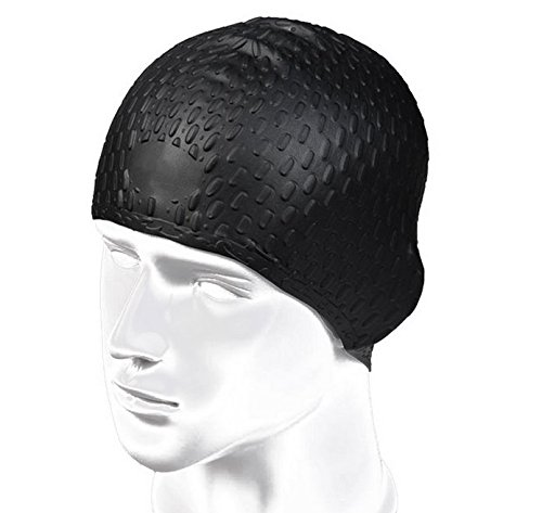 Bubble Design Soft Silicom Swimming Cap For Long Hair Women And Men  Black