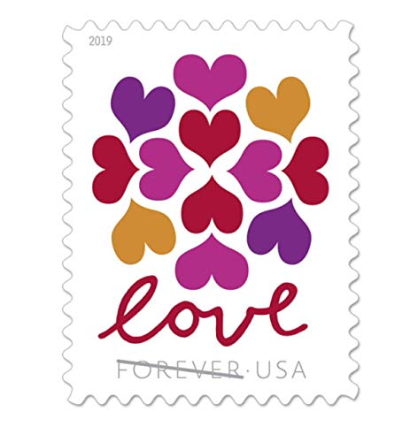 USPS Hearts Blossom Love Forever Stamps - Wedding, Celebration, Graduation (2 Sheets, 40 Stamps) 2019