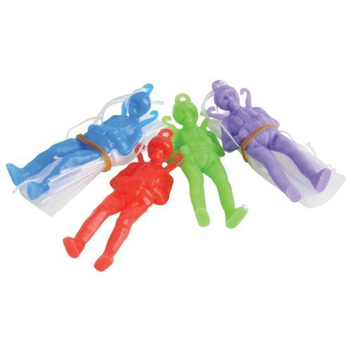 Dozen Assorted Color Toy Paratrooper Parachute Men - 2.25