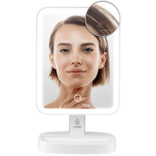 Lavany LED Lighted Vanity Mirror Natural Bright Light Makeup Mirror Cosmetic Desk Table Makeup Mirror with Detachable 10X Magnification (White)