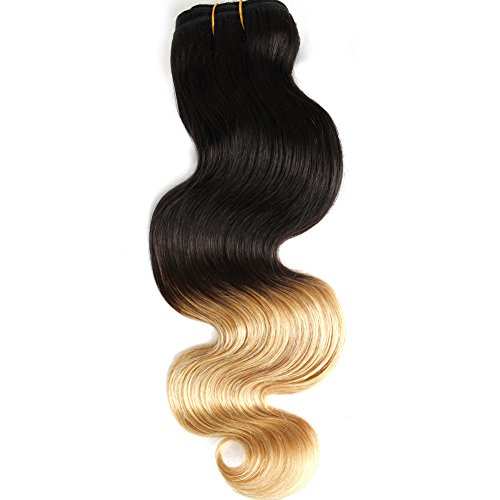 GoldRose Beauty Ombre Hair Extension Grade 6A Remy Brazilian Virgin Human Hair Body Wave Hair Weave Two-tone Color #1B/27 12 Inch 1 Bundle