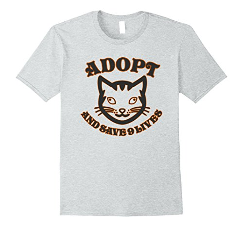 Adopt Cat (Mens Adopt A Cat And Save 9 Lives T-Shirt Large Heather Grey)