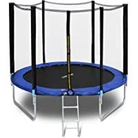 GENKI 8FT Trampoline with 5ft Height Safety Enclosure Net Jumping Mat and Spring Cover Padding