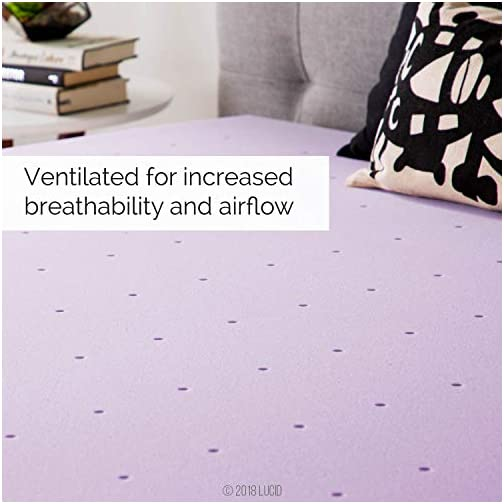 LUCID Foam Mattress Topper – Ventilated Design, 2 Inch