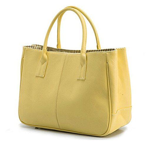 Sugawin Women's Pure Color Fashion Yellow PU Leather Handbag Shoulder Bags Purse Bag