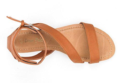 Coppie Di Sogno Donna Open Toe Moda Fibbia Incrociato Valcre Cinturini Alla Caviglia Sandali Piatti Design Estivo Nora-tan