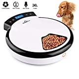 electric dog feeder - Funkeen Automatic Pet Feeder, Auto Dog Feeder Electric Timer Programmed with Dual Power Supply & Voice Recorder, Up to 5 Meals Per Day, 240ml x 5 for Dry & Semi-Wet Dog/Cat Food Dispenser