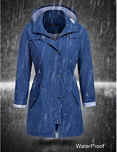 Hood Howme Mid Women Dark Outerwear Blue Long Casual Waterproof Jackets Skinny 0r0FqwZ