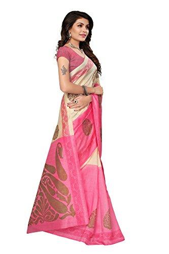 Jaanvi fashion Women's Bhagaluri Silk Paisley Printed Saree (Sai_pallavi_Pink) by Jaanvi fashion (Image #1)