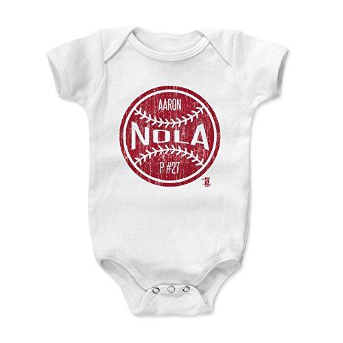 - 500 LEVEL Aaron Nola Baby Clothes, Onesie, Creeper, Bodysuit 6-12 Months White - Philadelphia Baseball Baby Clothes - Aaron Nola Ball R