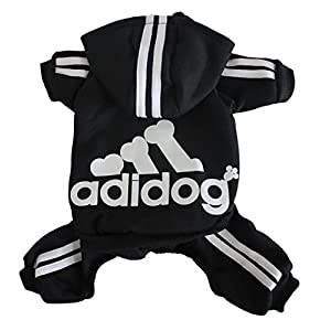 Scheppend Adidog Pet Clothes for Dog Cat Puppy Hoodies Coat Winter Sweatshirt Warm Sweater,Black Extra Large