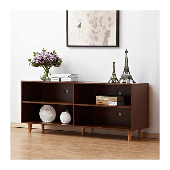 DlandHome Television Stand 58 Inches with 4-Cube, Entertainment Center Console Storage Cabinet for Living Room/Bedroom, HH-GZ003-WN Walnut, 1 Pack -  - tv-stands, living-room-furniture, living-room - 417BSuvJqyL. SS570  -