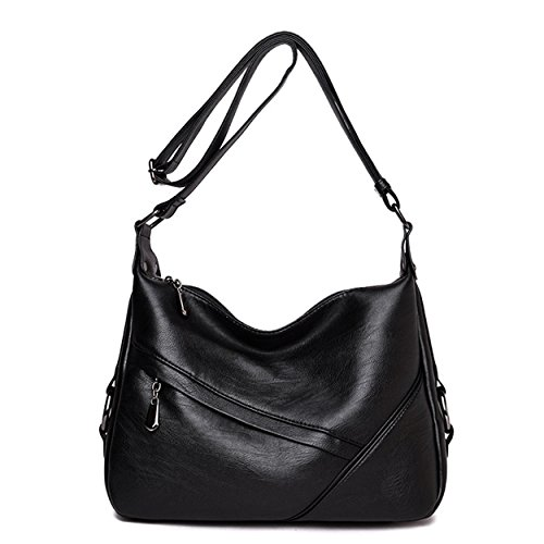 Casual Hobo Handbags (FUNOC Women's Retro Sling Shoulder Bag, Leather Crossbody Tote Handbag (Black))