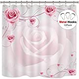Extra Long Pink Shower Curtain Riyidecor Cdcurtain Pink Rose Shower Curtain Floral 72x78 Inch Free Metal Hooks 12-Pack White Romantic Superior Graceful Shower Curtain Panel Polyester Waterproof