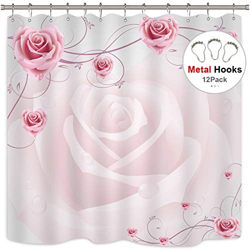 Riyidecor Cdcurtain Pink Rose Shower Curtain Floral 72x78 Inch with Metal Hooks 12 Pack White Romantic Superior Graceful Shower Curtain Panel Polyester Waterproof