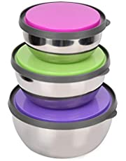 3pcs Stainless Steel Bowls with Lids, Kitchen Prep Bowls Small Mixing Bowls for Cooking Baking