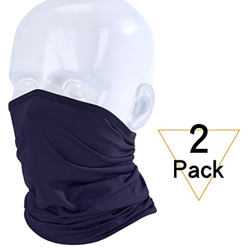 JIUSY 2 Pack - Lightweight Soft Neck Gaiter Neck Warmer Face Mask Windproof Protection Cover for Motorcycle Cycling Fishing Hunting Hiking Riding Climbing Ski Snowboard Outdoor Sports Navy Blue (Balaclava Wind)