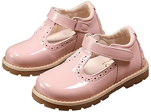 PPXID Girl's British Retro T-Bar Princess Oxford Shoes(Toddler/Little Kid)-Pink 11 US Size -
