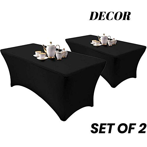 Set of 2 - Spandex Table Cover - Rectangular 6 Feet - Stretchable and Wrinkle Free - Elegant Look - Multi-Occasional Table Cloth - Kitchen Table, Dessert Table, Buffet Table (Unique Covers Table)