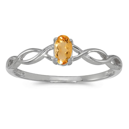 - 10k White Gold Oval Citrine Ring (Size 8.5)