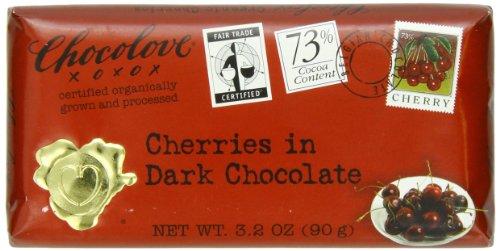 Chocolove Chocolate Bar, Cherries in Dark Chocolate, 3.2 Ounce (Pack of 12)