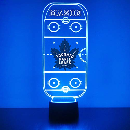 Toronto Handmade Acrylic Personalized Maple Leafs Hockey Rink Hockey Rink LED Night Light - Remote, 16 Color Option, Great Personalized Gift, Engraved