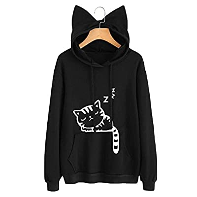 Womens Long Sleeve Cat Ear Print Casual Loose Hoodies Hooded Sweatshirts With Pocket