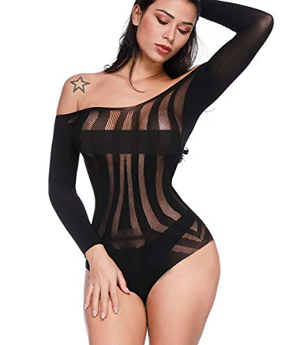 Buitifo Women Sexy Bodysuit Mini Teddy One Piece Babydoll Mesh Lingerie (Black 3, One Size)