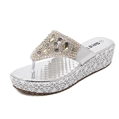 Lisianthus Women's Silvery PU Platform Thong Sandals US 6.5-7 (Women Thong Pu Sandals)