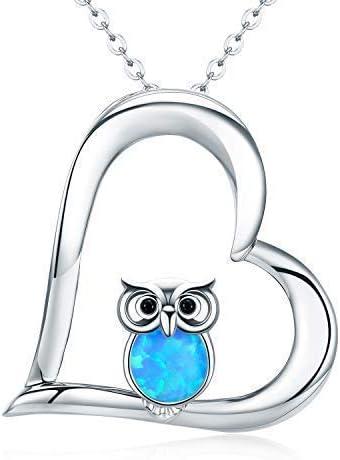 Joyería para mujeres regalos para niñas collar colgante de búho collar para mujer de plata de ley 925 en dos tonos búho cadena para mujer de 45,7 cm con caja de regalo