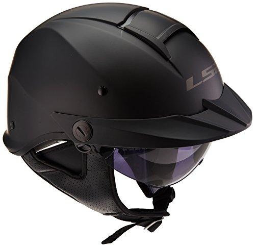 LS2 Helmets Rebellion Unisex-Adult Half Helmet Motorcycle Helmet (Matte Black, X-Large)
