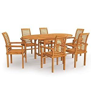 vidaXL Bois de Teck Massif Salon de Jardin 7 pcs Ensemble de Salle à Manger Mobilier de Repas Table et Chaises à Dîner…