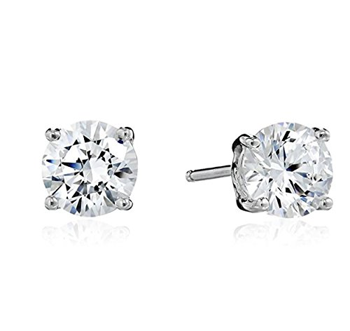 Surgical Stainless Steel Studs Earrings Men Women Round Basket Setting Cubic Zirconia Hypoallergenic Earrings (6 MM - Posts Surgical Earing With Steel