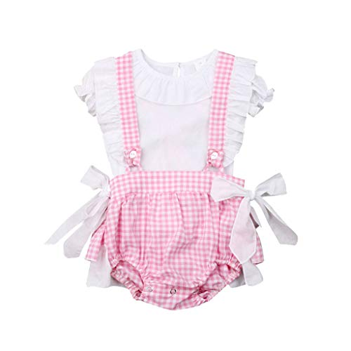 (Baby Outfits Ikevan Infant Baby Girls Short Sleeve Solid T-shirt Tops+Plaids Shorts Overalls Outfits (3-6 Months, White))