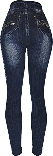 Hand By Hand Aprileo Women's Leggings Jeans Look Printed Stretch [Love Dark Denim](One Size) by Hand By Hand (Image #2)