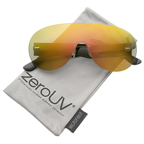 zeroUV - Futuristic Rimless Frame Mono Lens Aviator Shield Sunglasses 71mm (Black / Orange - Zerouv Futuristic