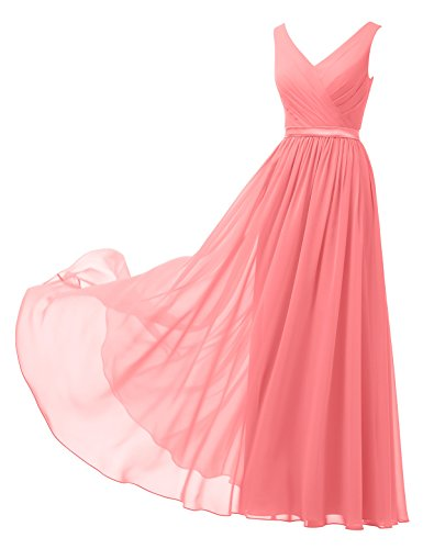 Cocktail Wedding Dress Gown - Alicepub V-Neck Chiffon Bridesmaid Dress Long Party Prom Evening Dress Sleeveless, Coral Pink, US18
