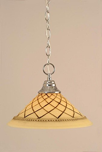Toltec Lighting 10-CH-7182 Hung - One Light Chain Pendant, Chrome Finish with Chocolate Icing Glass