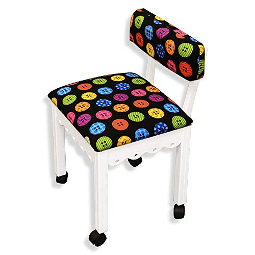 Arrow Sewing Chair in White with Button Fabric by Arrow (Image #1)