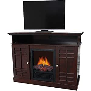 Dark Brown Wood Electric Heater Fireplace For