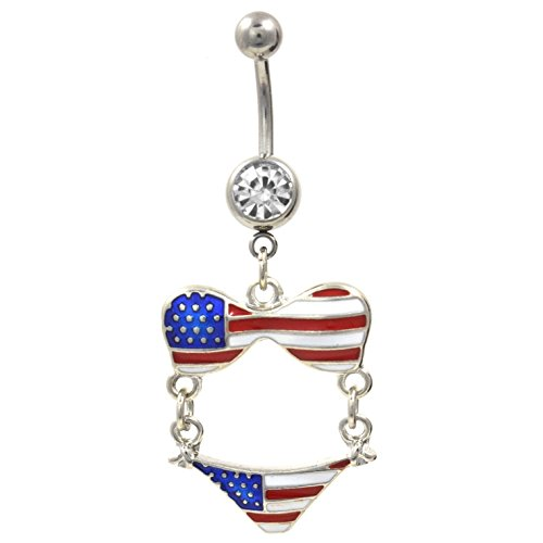 Stripe Belly Navel Ring - 4th of July Themed Stars and Stripes USA Bikini Dangle Belly Navel Ring