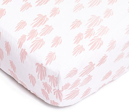 Lewis Organic Cotton Fitted Crib Sheet Seaweed Print 100% GOTS Certified Organic Cotton Percale, Blush by Lewis LLC