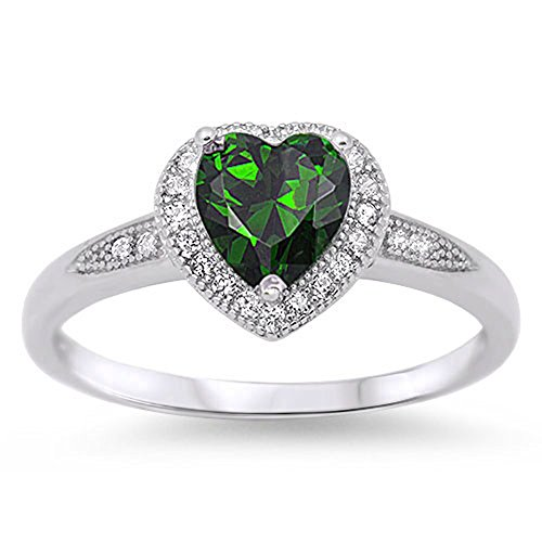 CHOOSE YOUR COLOR Sterling Silver Heart Halo Promise Ring